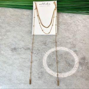 Ettika multilayer gold tone necklace